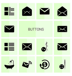 14 buttons icons vector