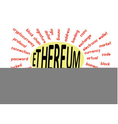 A word cloud associated with ethereum vector