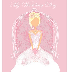Abstract Beautiful floral bride card vector