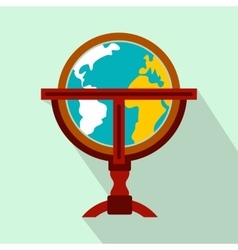Antique earth globe flat icon vector