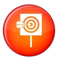 Arrow in the center of target icon flat style vector