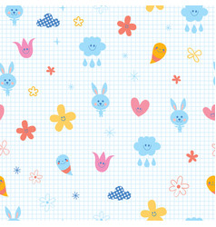 baby bunnies flowers clouds hearts vector image