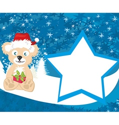 Bear in santa claus hat - card vector