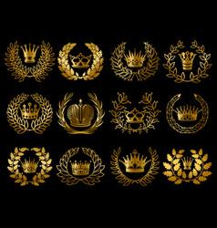 beautiful gold wreathes set vector image