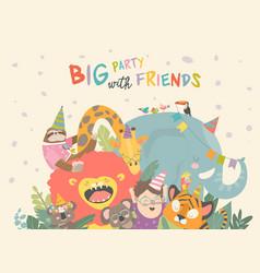 birthday background with happy cartoon vector image