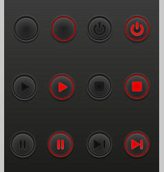 black media button set icons on and off position vector image
