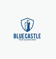 Blue castle logo vector