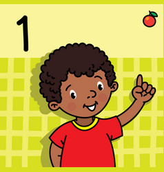 Boy showing one by hand counting education card 1 vector