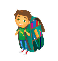 Boy with big school bag stands smiling vector