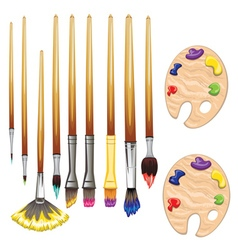 Brushes and Palette vector