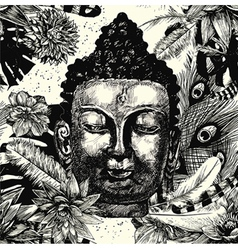 Buddha head seamless pattern black and white Hand vector