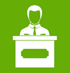 businessman giving presentation icon green vector image