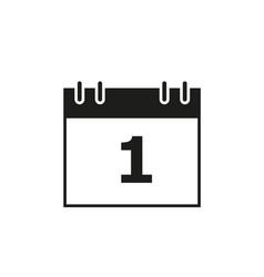 calendar of date 1 black icon vector image