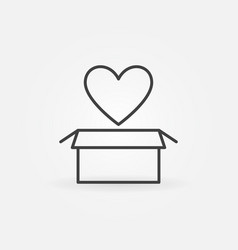 cardboard box with heart linear icon love vector image
