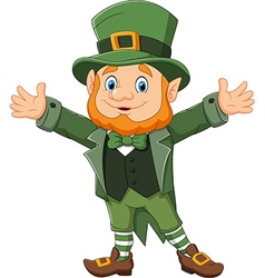 Cartoon funny leprechaun waving hand vector image