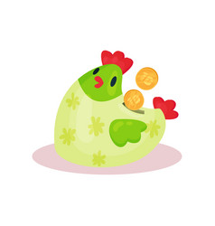 ceramic money box in form of green chicken with vector image