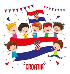 children holding croatia flag vector image