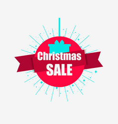 christmas sale banner with gift box and ribbon vector image