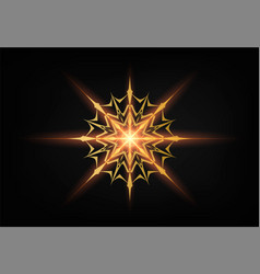 christmas shining gold snowflake glowing golden vector image