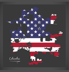 Columbus ohio map with american national flag vector