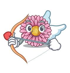 Cupid gerbera flower pot above character table vector