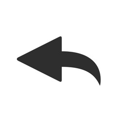 curved back arrow left pointer icon curve cursor vector image