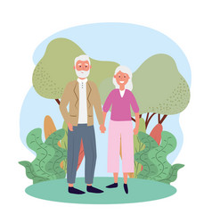 Cute old woman and man couple with trees vector
