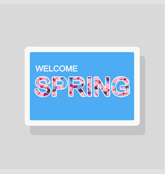 double exposure welcome spring greeting card vector image