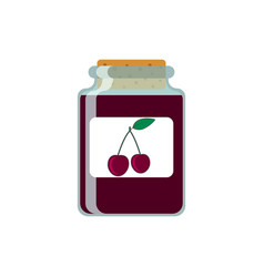 Drawing jars with cherry jam on vector