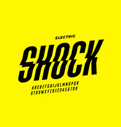 eclectric shock style font design alphabet vector image