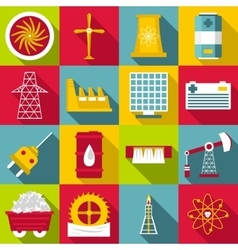 Energy sources symbols icons set flat style vector