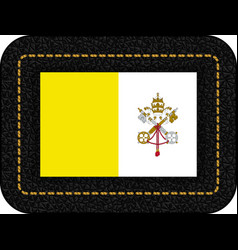 Flag of vatican city icon on black leather vector