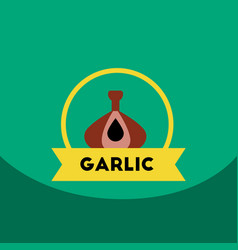 flat icon design collection garlic emblem vector image