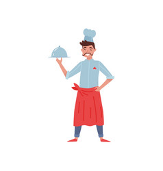 flat of restaurant chef with vector image