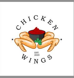 fried chicken logo chicken wings vector image