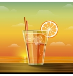 Glass with lemonade at sunset vector image