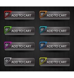 glossy add to cart buttons set vector image