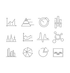 graphs charts icons business statistics graphic vector image