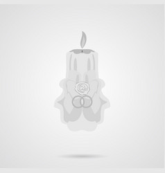 gray wedding candle flat icon vector image