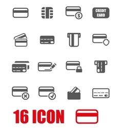 Grey credit card icon set vector