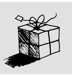 Hand drawn gift box with tag vector image