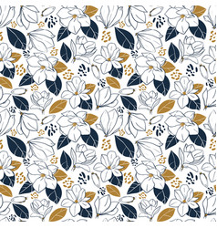 Hand drawn pattern with magnolia flowersbuds vector