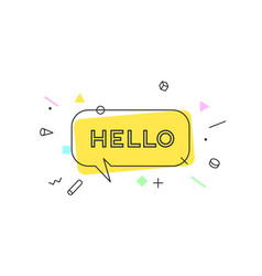 Hello banner speech bubble vector