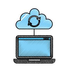 Laptop cloud computing refresh data storage vector