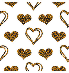 leopard hearts spotted print pattern with hearts vector image