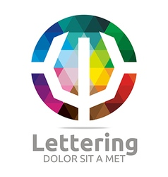 Lettering w rainbow alphabet design vector