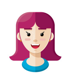 long purple hair flat person icon 2 vector image
