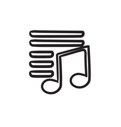 Musical note sketch icon vector