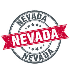 Nevada red round grunge vintage ribbon stamp vector