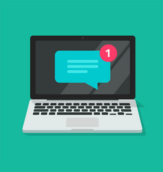 New chat text message notice icon on laptop vector